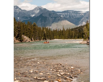 Bow River Photography, Canadian Rocky Mountains Print, Landscape Photography, Lake House Art, Spa Wall Decor, Unframed Lodge Lounge Accent