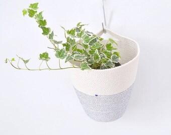 Hanging cotton pot, Natural home decor, Hanging planter, Planter basket, Handle basket, Hanging basket, Kids room storage, Plant hanger Rope