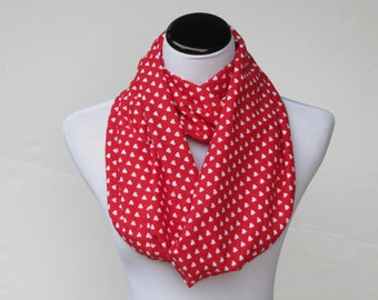 Red Hearts Scarf Loop Scarf Red & White hearts scarf Valentine infinity scarf Valentine's day scarf hearts print scarf circle scarf