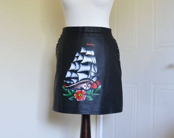 Hand Painted Sailor Jerry Tattoo Ship Studded Faux Leather Skirt