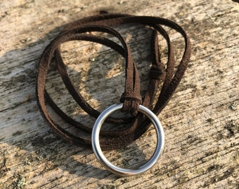 Ring Necklace. Joanna Gaines Jewelry. Ring Suede Key Necklace. Joanna Gaines. Rustic Necklace. Suede Necklace. Simple Necklace.