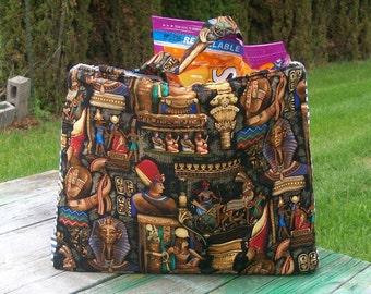 Egyptian Pharaoh Tote Bag Hieroglyphs Ready to Ship Reusable Grocery Bag Shopping Bag