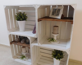 """4 pieces of combined decorative white wooden crates """"shabby chic"""""""