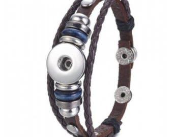 Bracelet braided leather, snap, Brown bracelet, bracelet leather mixed, interchangeable bracelet, bracelet clip