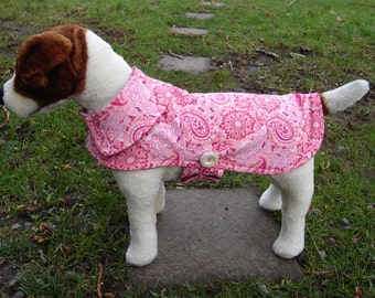 Dog Coat - Pink and White Paisley Corduroy Coat- Size Small- 12 to 14  Inch Back Length