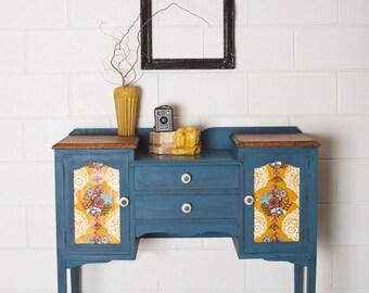 SOLD**Newly Refurbished Vintage Shabby Chic Dresser Sideboard Buffet Desk Silky Oak