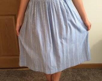 1950s blue and white summer skirt
