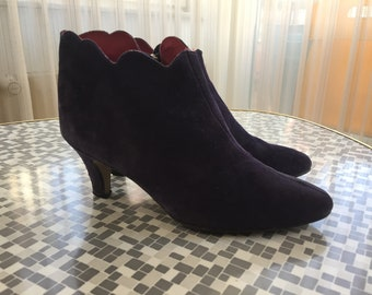 80s Ankle Booties purple suede sz 36