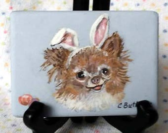 Easter bunny, Easter puppy, small portrait, magnet. Easter decoration ,small animal portrait,art trading card,collectible art,small art