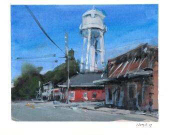Original Cityscape Painting Water Tower Acrylic Fine Art - 8x10 by David Lloyd Smith