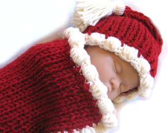 Baby Santa Knitting Pattern - Fast Easy DIY - Christmas and Valentine Infant Cocoon PDF - Crochet Bobbles