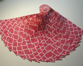 """Jelly Roll-""""Hot Pink & White"""" Quatrefoil by Choice Fabrics"""