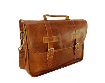 "DIAZ 17"" Genuine Leather Briefcase / Laptop Satchel / Messenger Shoulder Bag in Crazy Horse Tanned Brown - Free Monogramming -"