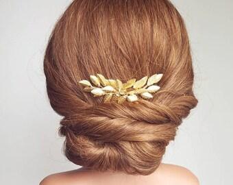 Gold Leaf Hair Comb, Leaf Hair Pin, Gold Bridal Hair Piece, Wedding Headpiece, Bridal Hair Comb, Vine Hair Comb, Leaf Vine Hairpiece