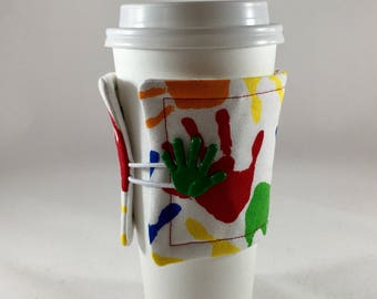 Handprint Fabric Insulated Coffee Sleeve, Teacher, School, Teacher Gift, Cup Cozy, Fabric Cup Sleeve, Coffee Cozy, Drink Sleeve, Coffee