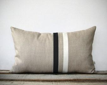 Black and White Striped Pillow Cover (12x20) Modern Home Decor by JillianReneDecor - Minimal Colorblock Stripes - Black and Cream