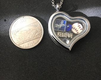 Los Angeles Dodgers heart floating charm locket