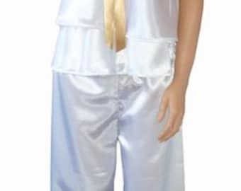 Ladies White Satin Pyjamas Gown nightwear loungwear