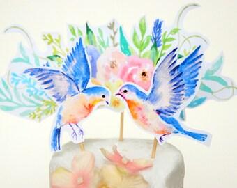 Paper Cake Topper - Cake Topper - Love Bird Topper - Paper Wedding Cake Topper, Digital Wedding Paper Cake Topper