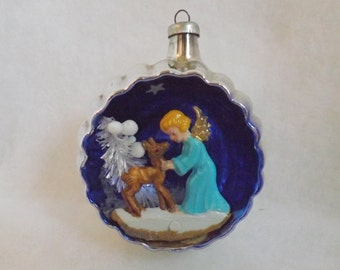 Vintage Italian Christmas ornament glass Italy diorama angel and deer with bottle brush tree blue and silver