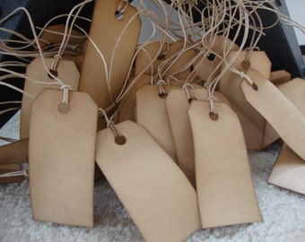 """25 Coffee Stained Hang Tags, sized 2 3/4 x 1 3/8"""", Primitive tags, Vintage tags, Antique tags"""