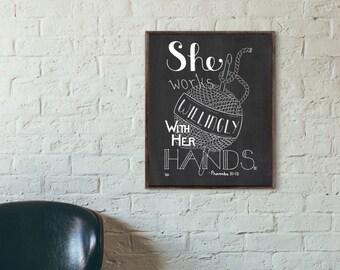 Crochet Art, Bible Verse Wall Art, Proverbs 31 Art, Bible Verse Art, Creativity Quote, Craft Room Quote