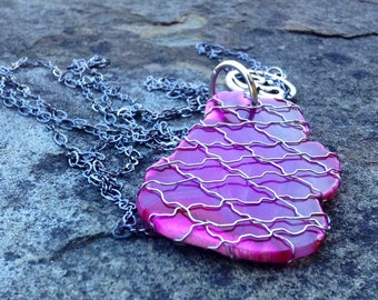 Pink Madagascar Agate Silver Wire Wrapped Slice Necklace