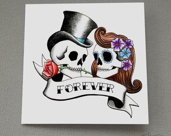 Red sugar skull anniversary card d pop up rockabilly tattoo