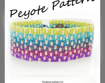 Greek Key Ombre Peyote Pattern Bracelet - For Personal Use Only PDF Tutorial , ombre bracelet pattern , easy miyuki delica bracelet tutorial