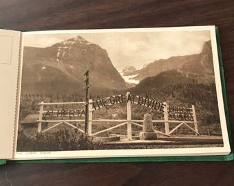 Canadian Rockies 12 Postcards Green Booklet Sepia Photography Field BC Byron Harmon Banff Canada Printed England lcww