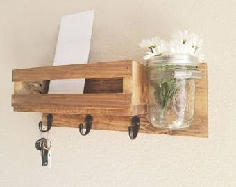Wooden, Rustic-Style Entryway Mail Organizer and Key Holder