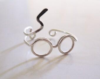 Harry Potter Ring, Gläser Ring, Silberring, Blitz Narbe Ring, Draht gewickelt verstellbarer Ring, Ring inspiriert, Mode-Ring, Geek Geschenk