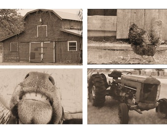 Barnyard Photo Set, Farm Theme Toddler Room, Farmhouse Print Set, Sepia Brown Farm House Photos, Barn, Tractor, Cow, Chicken, Photo Art Set