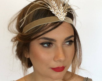 Gatsby 1920s headpiece, gold Fascinator. Gold, Flapper headband, gatsby headband, Pearl 1920s headband, feather headband, gatsby headpiece