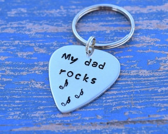 My dad rocks keychain | Guitar pick keychain | Father's day gift from kids | My dad rocks guitar pick keychain | Father's day keychain |