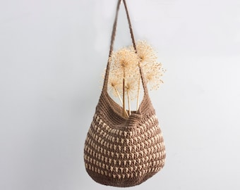 Cotton Market Tote Bag, Dark Brown, Beige Market Bag,  Hand Crocheted,  Book Bag, Beach Bag