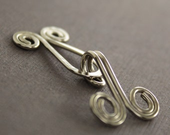 Handmade spiral German silver cardigan clasp or sweater clasp for knit and fabric - Handmade clasp - Knitting sewing accessory - CL004