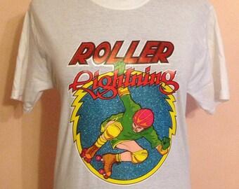 Original vintage 1980s glitter rollerskate transfer T-shirt