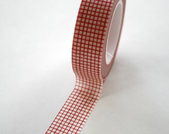 Washi Tape - 15mm - Red Graph Paper Grid Design on White - Deco Paper Tape No. 49