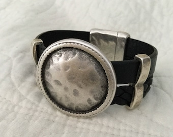 Black Cuff Bracelet with Antique Silver