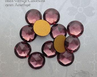 Vintage Cabochons - 13 mm Facet Amethyst Purple -  6 West German Faceted Glass Stones