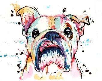 Bulldog watercolor art print