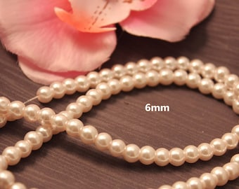Set of 50 6mm white - jewelry - pearls