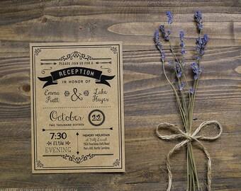 Printable Rustic Reception Only Invitation - Custom