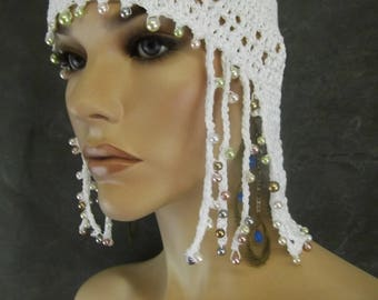Accessory,Women,Hats,Chemo Cap,Skullcap,White,Beaded,Cotton Cap,Spring Hat,Summer Hat,Cleopatra Cap,Wedding