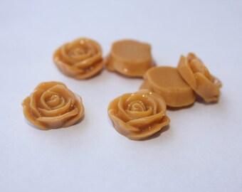 Mustard PETAL ROSE Cabochons - 20mm - Set of 10