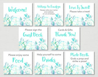 Nautical Beach Bridal Shower Signs / Beach Bridal Shower / Watercolor Seashells / Nautical / 8 Printable Party Signs / INSTANT DOWNLOAD B103