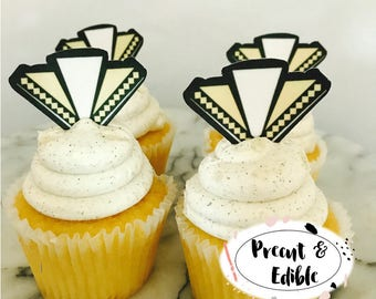 Art Deco Cupcake Topper, Great Gatsby cupcake topper, Geometric cupcake Topper, Art Deco cupcake, cake topper,Art Deco birthday,  precut