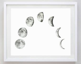 Moon Phase Watercolor Art Print