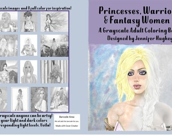 Digital Download| Grayscale coloring book | Grayscale fantasy coloring book | Adult Coloring pages